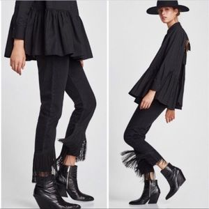 Zara high rise fringe vintage jeans